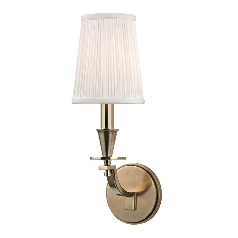 "Hudson Valley Lighting 6211 Avalon 1 Light Wall Sconce with Pleated Sale $250.00 ITEM#: 2402252 MODEL# :6211-AGB UPC#: 806134173869 Boldly appealing, Avalon captures the bare beauty of geometric forms in a finely arrayed composition. Cone-shaped holders and disc bobeches create a striking visual tableau, set atop the curve of Avalon's classically stepped arm. A cast circular backplate brings unity to the design. Dimensions: Height: 16"" Width: 5.25"" Extension: 7"" Shade Height: 6.25"" Backplate Diameter: 4.75"" Electrical Specifications: Number of Bulbs: 1 Bulb Base: Candelabra (E12) Maximum Watts per Bulb: 60 Bulb Included: No Voltage: 120 UL / cUL Listed :"