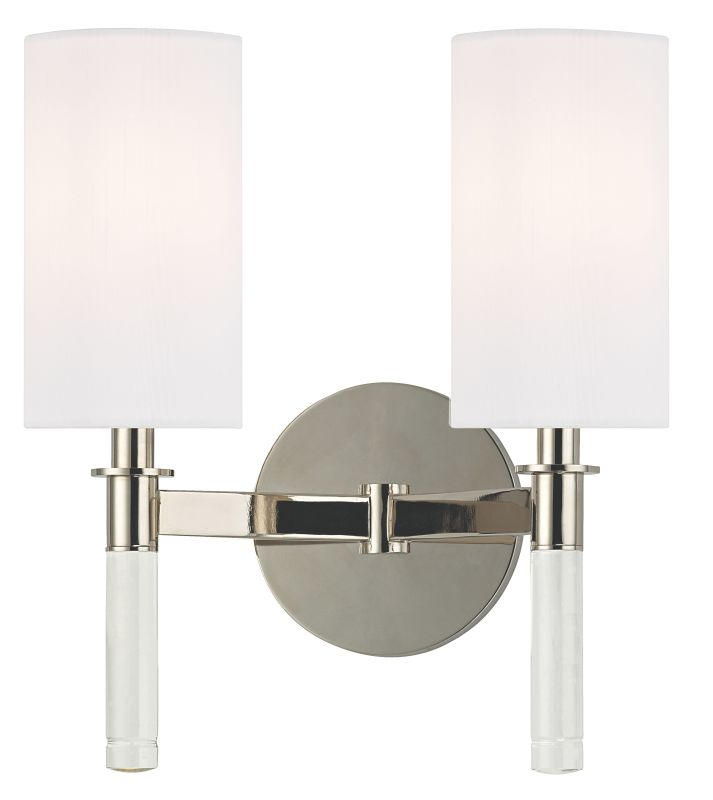 Hudson Valley Lighting 6312 Wylie 2 Light Wall Sconce Polished Nickel