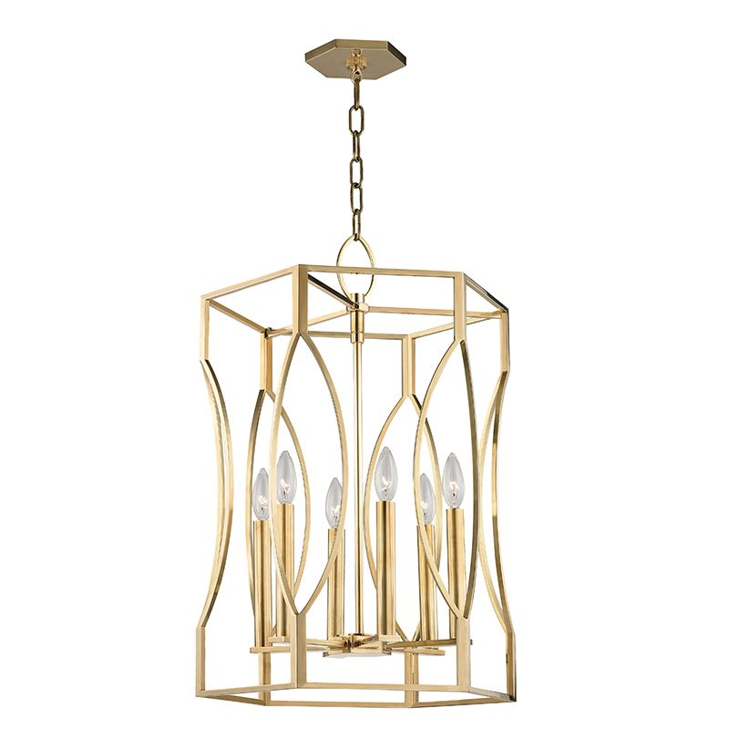 """Hudson Valley Lighting 6517 Roswell 6 Light 17"""" Pendant with Tapered Sale $1790.00 ITEM#: 2679917 MODEL# :6517-AGB UPC#: 806134188276 :"""