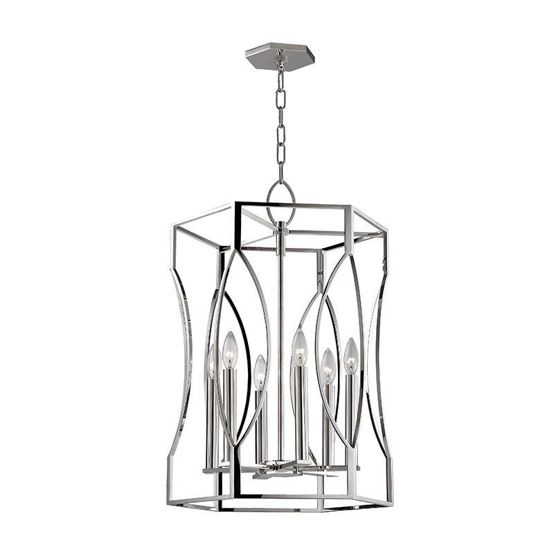 "Hudson Valley Lighting 6517 Roswell 6 Light 17"" Pendant with Tapered Sale $1790.00 ITEM#: 2679919 MODEL# :6517-PN UPC#: 806134188290 :"