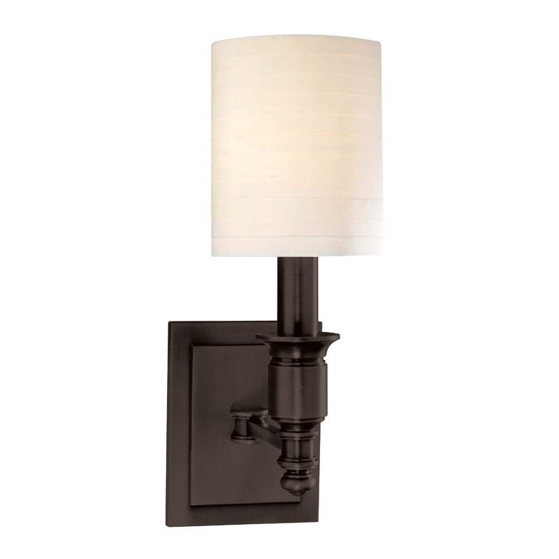 "Hudson Valley Lighting 7501 Single Light Up Lighting Wallchiere Style Sale $268.00 ITEM#: 1737630 MODEL# :7501-OB UPC#: 806134125103 Traditional / Classic Single Light Up Lighting Wallchiere Style Wall Sconce with Cylinder Faux Silk Shade from the Whitney Collection Whitney Collection Single Light Up Lighting Wallchiere Sconce with Cylinder Faux Silk Shade. Features: Cylinder Faux Silk Shade Specifications: Requires (1) 60W Candelabra Based Bulb (Not Included) Height: 13.25"" Width: 5"" Extension: 7.5"" Wall Plate Dimensions: 4.25""W x 5.5""H Shade Dimensions: 6""H x 5"" Diameter :"