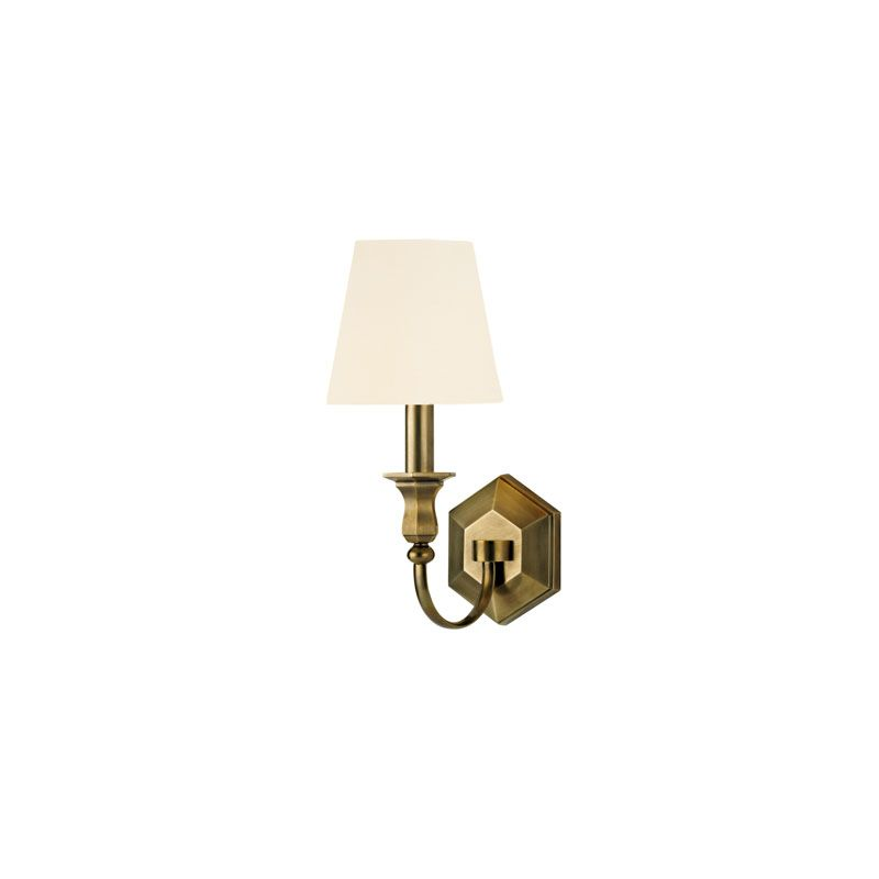 Hudson Valley Lighting 1411 Charlotte 1 Light Wall Sconce Aged Brass /