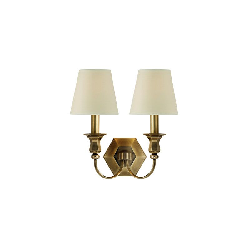 Hudson Valley Lighting 1412 Charlotte 2 Light Wall Sconce Aged Brass