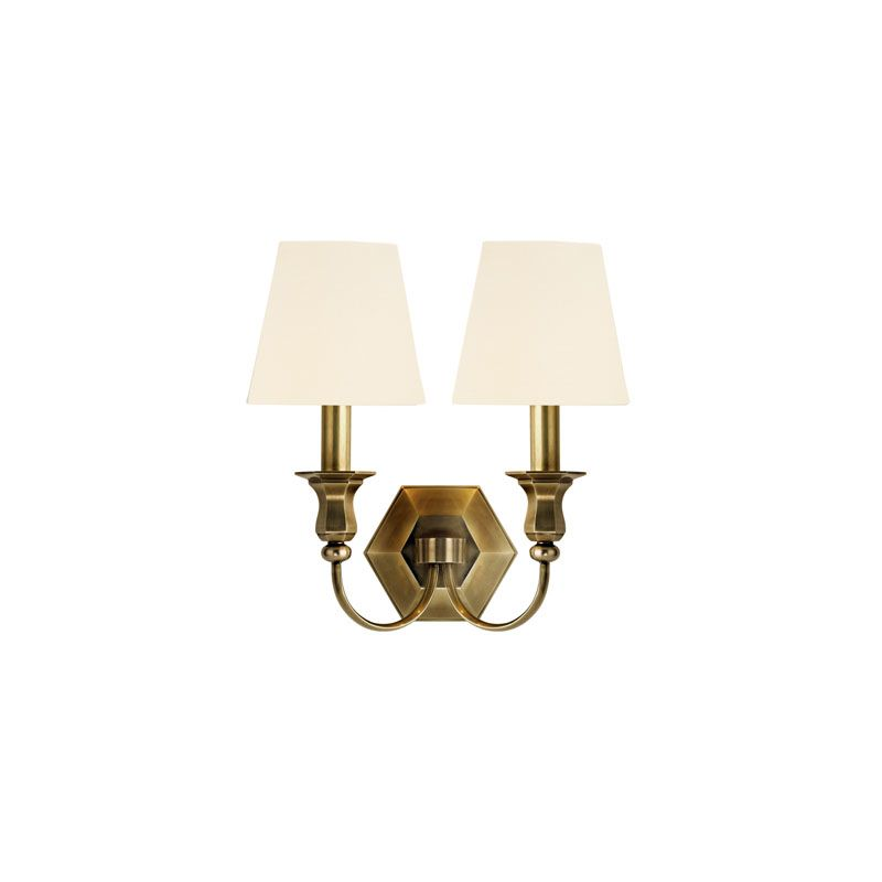 Hudson Valley Lighting 1412 Charlotte 2 Light Wall Sconce Aged Brass /