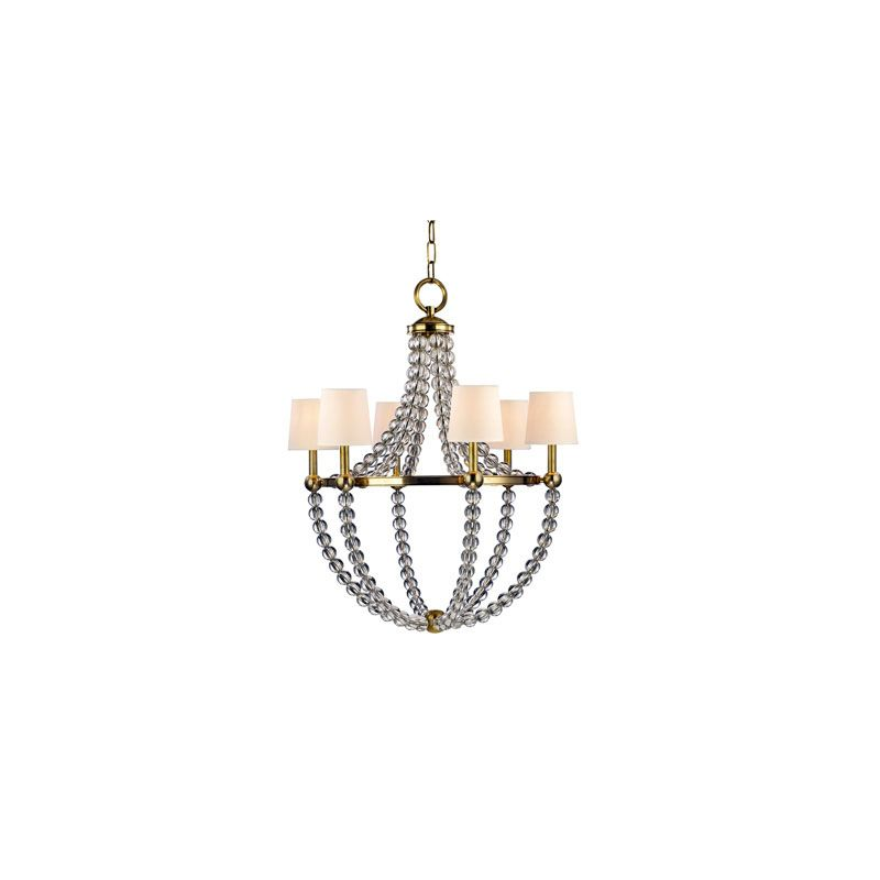 Hudson Valley Lighting 3116 Danville 6 Light Chandelier Aged Brass