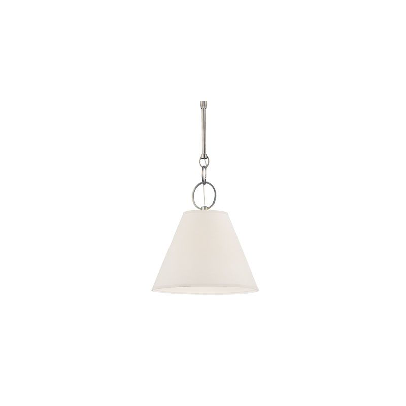 """Hudson Valley Lighting 5615 Altamont 1 Light Pendant with Parchment Sale $428.00 ITEM#: 2063105 MODEL# :5615-HN UPC#: 806134131609 Unique ring-and-rod chains add special flair to the Altamont pendants. The design's conical shape is clean and versatile. While the metal shade's rivet and seam details accentuate its historic roots, the inviting ambient illumination of the paper shade creates a softer look. Dimensions: Height: 16.75"""" Width: 15"""" Chain Length: 38"""" Minimum Height: 24.75"""" Maximum Height: 75.75"""" Canopy Width: 6"""" Shade Height: 12"""" Shade Top Diameter: 6.25"""" Shade Bottom Diameter: 15"""" Electrical Specifications: Number of Bulbs: 1 Bulb Base: Medium (E26) Maximum Watts per Bulb: 60 (Incandescent) / 26 (CFL) Bulb Included: No Voltage: 120 UL / cUL Listed :"""