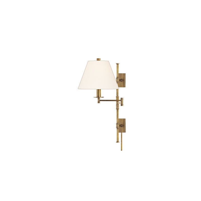 "Hudson Valley Lighting 7731 Claremont 1 Light Swing Arm Wall Sconce Sale $578.00 ITEM#: 2063238 MODEL# :7731-AGB-WS UPC#: 806134147044 Hudson Valley Lighting 7731 Claremont 1 Light Swing Arm Wall Sconce Contemporary classic wall sconce with an adjustable swing arm that is available in a variety of finish options. Hudson Valley Lighting 7731 Features: Shade attachment method: Finial Shade material: Eco-Paper Hudson Valley Lighting 7731 Specifications: Requires (1) 75 Watt E26 Medium Base Bulb (Not Included) Height: 25.25"" Width: 12"" Extension: 22"" Voltage: 120 volts Shade Bottom: 12"" Shade Top: 6"" Shade Height: 8.25"" Canopy / Backplate Height: 4.5"" Canopy / Backplate Width: 2.5"" :"