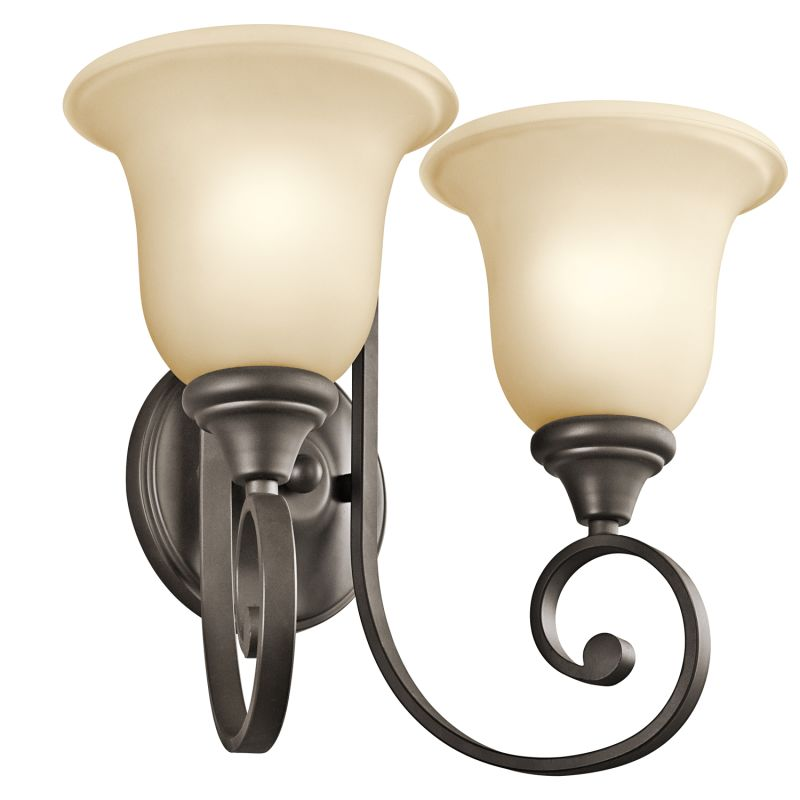 Kichler 43171 Monroe 2 Light Wall Sconce Olde Bronze Indoor Lighting