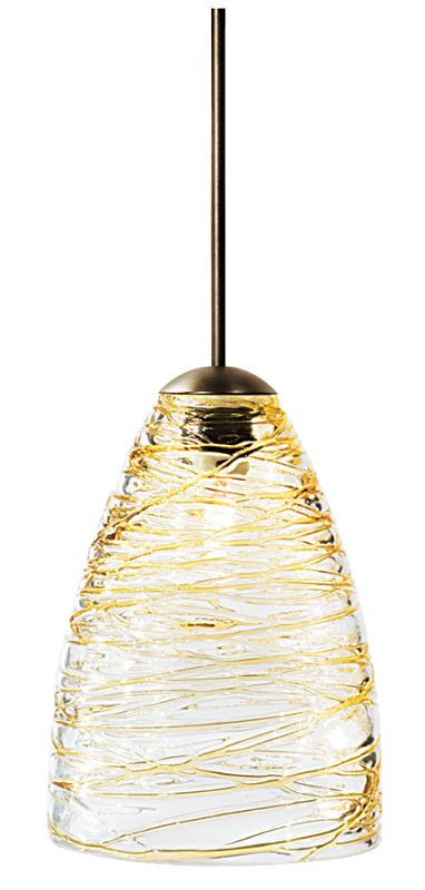 "LBL Lighting Flow Single Light Cone-Shaped Mini Pendant for Sale $184.50 ITEM#: 1085981 MODEL# :HS377AM Transparent blown glass cone with black or amber strands of colored glass. Includes specified low-voltage lamp and 8' of field-cuttable suspension cable. Mounting options: Fusion Jack - Includes a Fusion Jack (FSJ) compatible connector, and no transformer. For use with LBL Fusion Jack systems. Monopoint - A monopoint canopy (MPT), with internal transformer, will be included, creating a self-contained, fully-functional light. Monorail - Includes a Single-Circuit Monorail (MRL) connector, and no transformer. For use with LBL Single-Circuit Monorail Systems. Two-Circuit Rail - Includes a Two-Circuit Monorail (MR2) connector, and no transformer. For use with LBL Two-Circuit Monorail Systems. Color options: Amber, Black Finish options: Bronze, Satin Nickel Glass Size: W 3.5"", H 5"" Bulb Information: Requires 1 50w MR16 base Halogen bulb (included) 24 Volt Transformer: Custom order, please call customer service :"