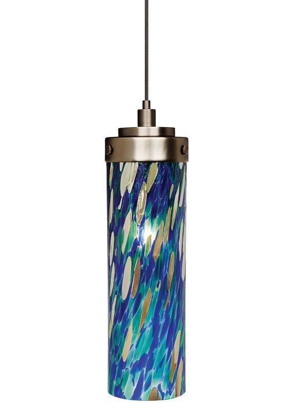 LBL Lighting Max Blue-Green LED Monopoint 1 Light Track Pendant Satin