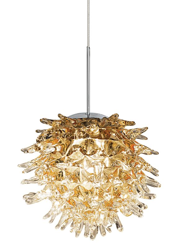 LBL Lighting Ooni Amber 1 Light Ooni Monopoint Pendant Satin Nickel