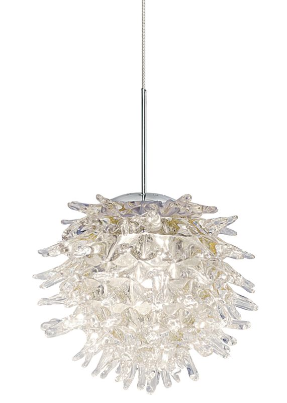 LBL Lighting Ooni Clear 1 Light Ooni Monopoint Pendant Satin Nickel