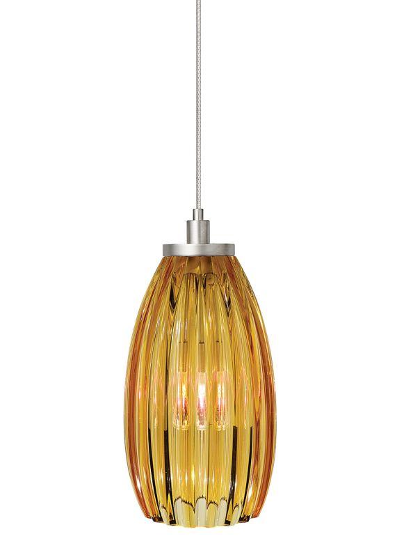 LBL Lighting Flute Amber Monopoint 1 Light Track Pendant Satin Nickel