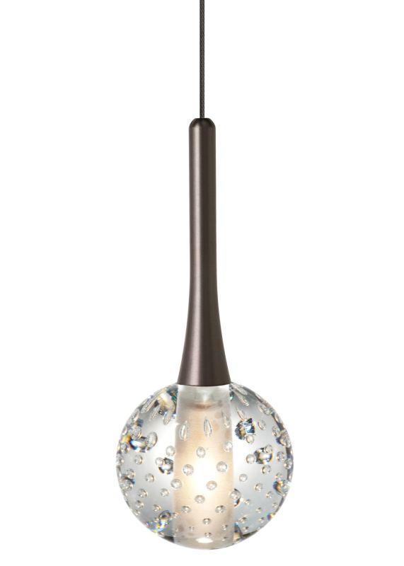 LBL Lighting Crystal Ball Clear Monopoint 1 Light Track Pendant Bronze