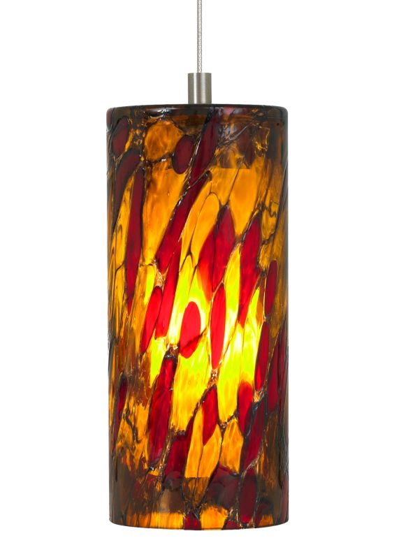 LBL Lighting Abbey Amber-Red 50W Monopoint 1 Light Track Pendant Satin