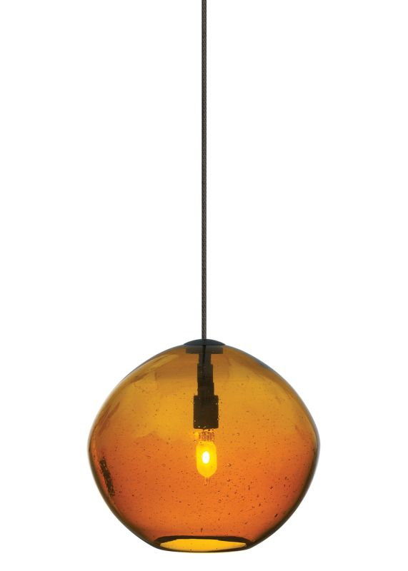 LBL Lighting Mini-Isla Amber 1 Light Mini-Isla Monopoint Pendant Satin