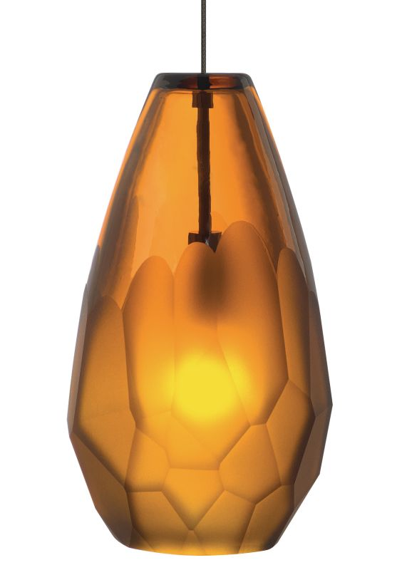 LBL Lighting Briolette Amber 50W Monopoint 1 Light Mini Pendant Satin