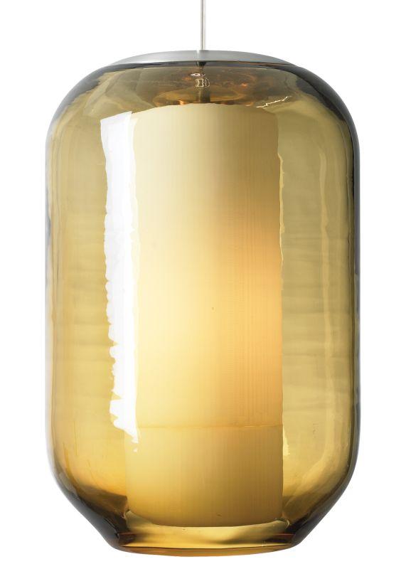 LBL Lighting Mini Mason Amber 60W Pendant 1 Light Mini Pendant Satin