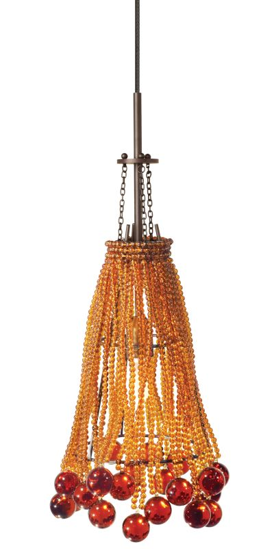 "LBL Lighting Marmo Single Light Mini Pendant for Single-Canopy Sale $315.00 ITEM#: 1085795 MODEL# :HS354AM Organic arrangement of small clear glass beads and large blown glass balls. Includes specified low-voltage lamp and 8' of field-cuttable suspension cable. Mounting options: Fusion Jack - Includes a Fusion Jack (FSJ) compatible connector, and no transformer. For use with LBL Fusion Jack systems. Monopoint - A monopoint canopy (MPT), with internal transformer, will be included, creating a self-contained, fully-functional light. Monorail - Includes a Single-Circuit Monorail (MRL) connector, and no transformer. For use with LBL Single-Circuit Monorail Systems. Two-Circuit Rail - Includes a Two-Circuit Monorail (MR2) connector, and no transformer. For use with LBL Two-Circuit Monorail Systems. Color options: Amber, Clear Finish options: Bronze, Satin Nickel Glass Size: W 5.5"", H 9.5"" Bulb Information: Requires 1 35w GY6.35 base Xenon bulb (included) 24 Volt Transformer: Custom order, please call customer service :"
