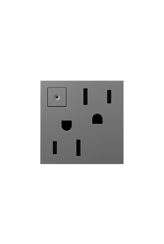 Legrand ARPS152M4 adorne Double 15 Amp Outlet with On/Off Button for