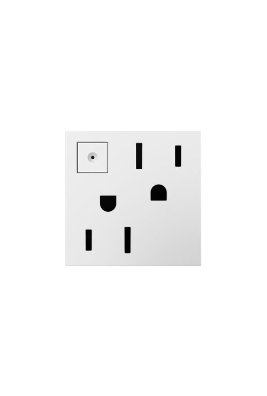 Legrand ARPS152W4 adorne Double 15 Amp Outlet with On/Off Button for