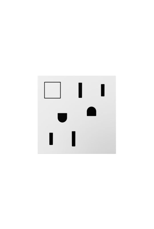 Legrand ARPS15RF2W4 adorne Double 15 Amp Outlet with On/Off Button for