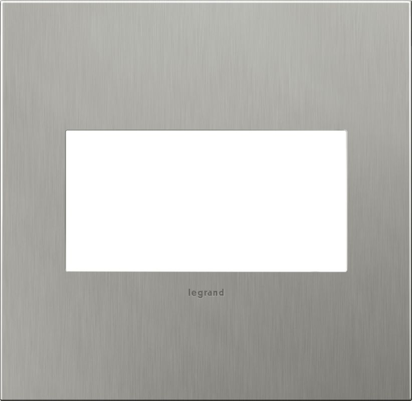 Legrand AWC2GBS4 adorne 2 Gang Metal Wall Plate - 6.56 Inches Wide