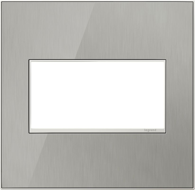 Legrand AWM2GMS4 adorne 2 Gang Metal Wall Plate - 6.56 Inches Wide