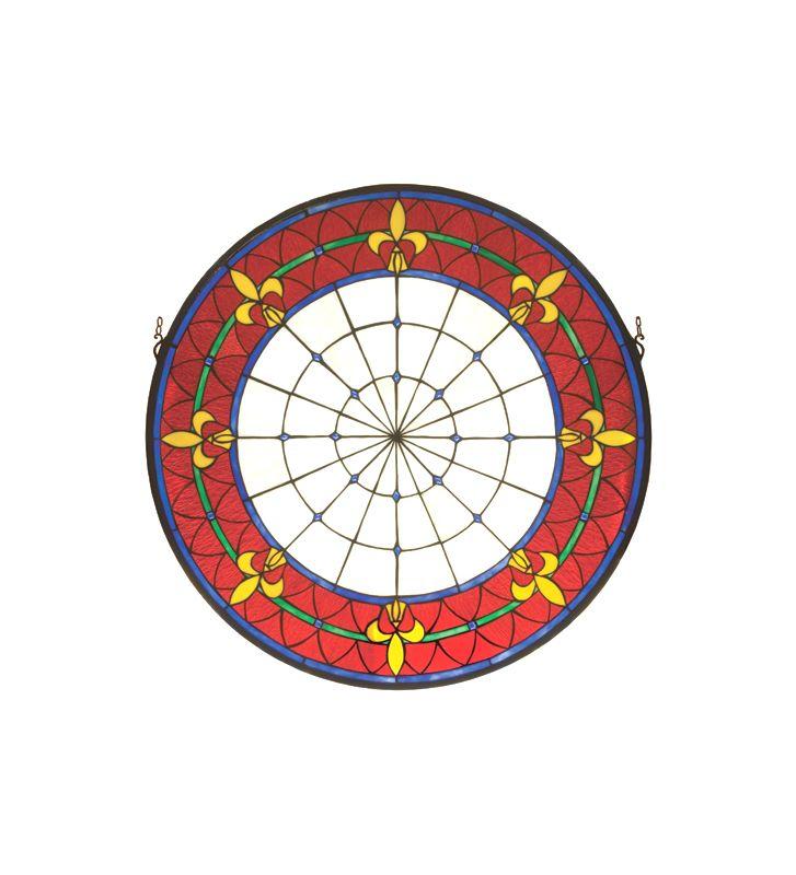 Meyda Tiffany 19811 Tiffany Round Medallion Red Stained Glass Window