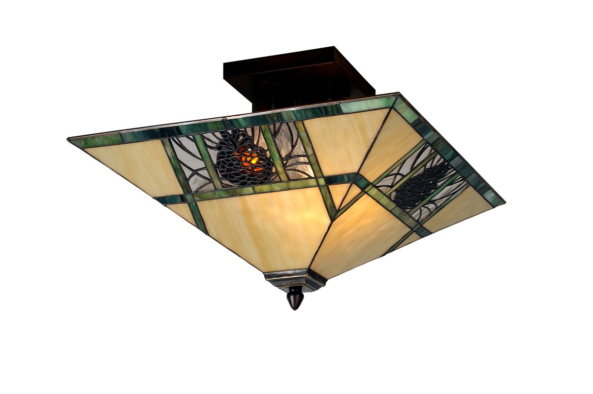 Meyda Tiffany 67849 Two Light Down Lighting Semi-Flush Mount Ceiling