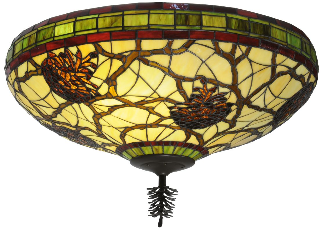 "Meyda Tiffany 110734 24"" W Pinecone Dome Flush Mount Ceiling Fixture"
