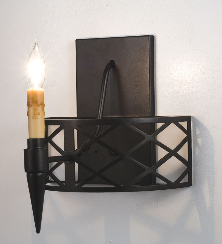 "Meyda Tiffany 18602 12"" W Top Ridge Wall Sconce Black Indoor Lighting"