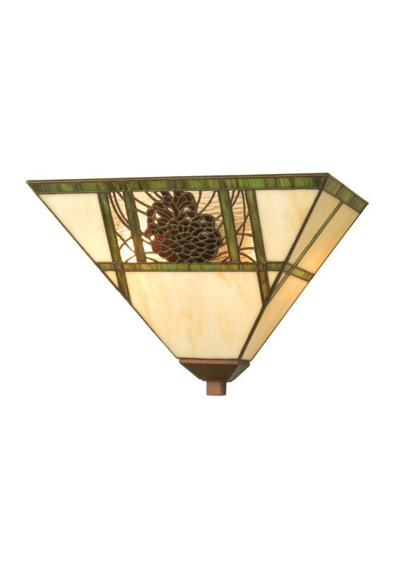 "Meyda Tiffany 20635 14"" W Pinecone Ridge Wall Sconce Beige Amber Seedy"