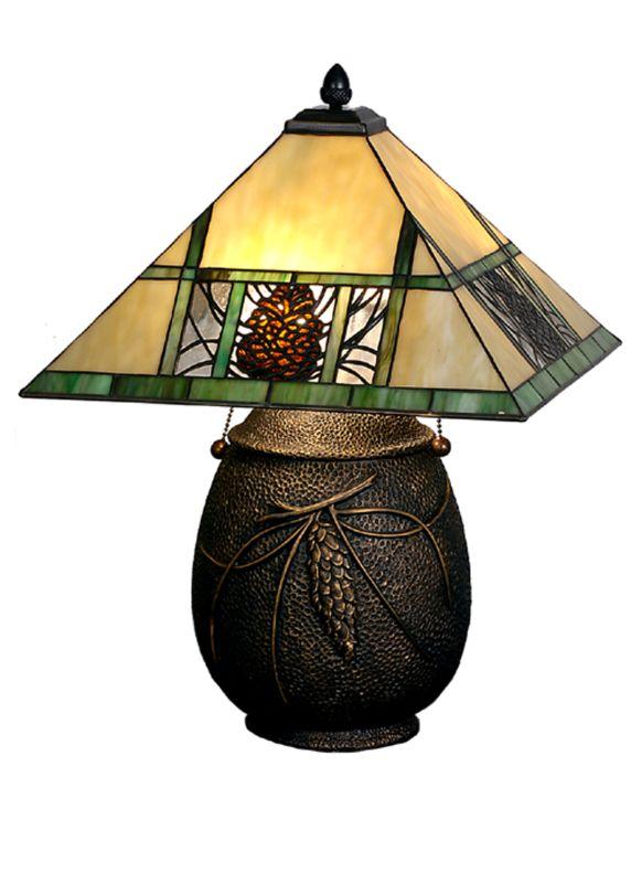 "Meyda Tiffany 67850 19.5"" H Pinecone Ridge Table Lamp Beige Amber"