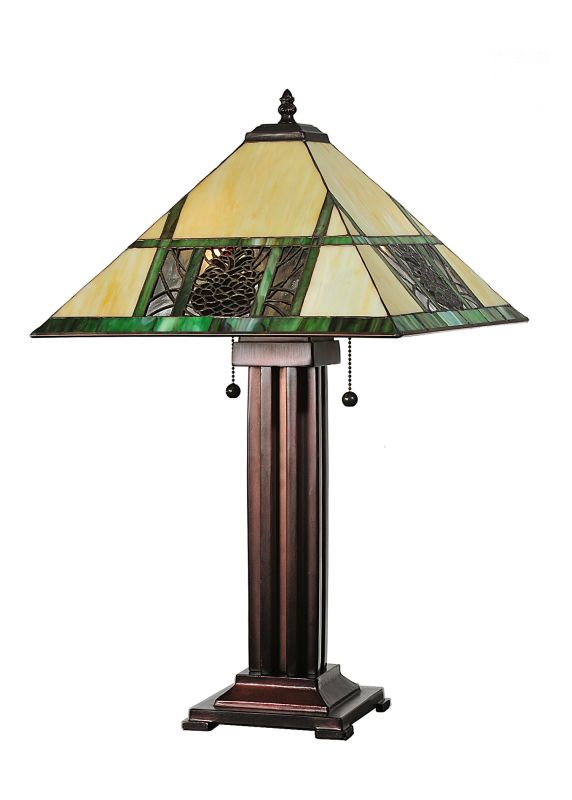 "Meyda Tiffany 67851 24"" H Pinecone Ridge Table Lamp Beige Amber Lamps"