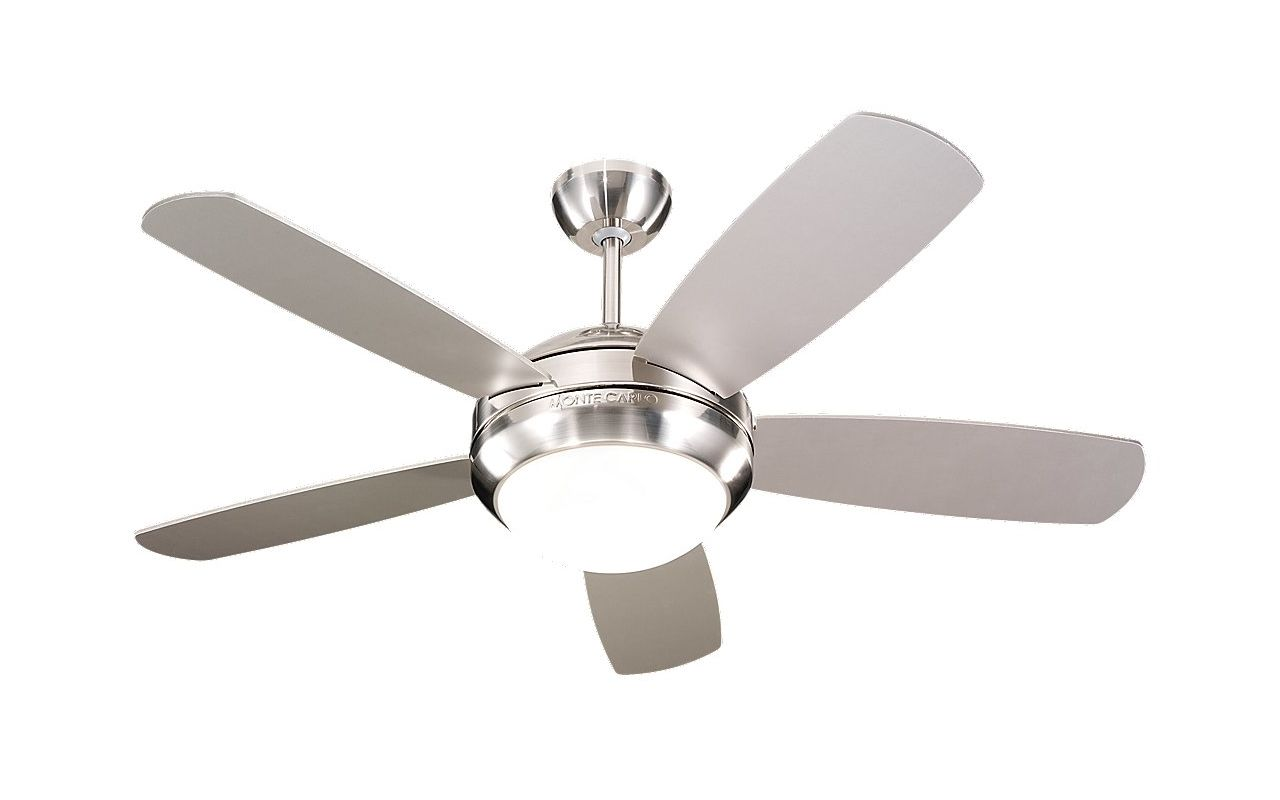 """Monte Carlo Discus II 5 Blade 44"""" Indoor Ceiling Fan - Light Kit and"""