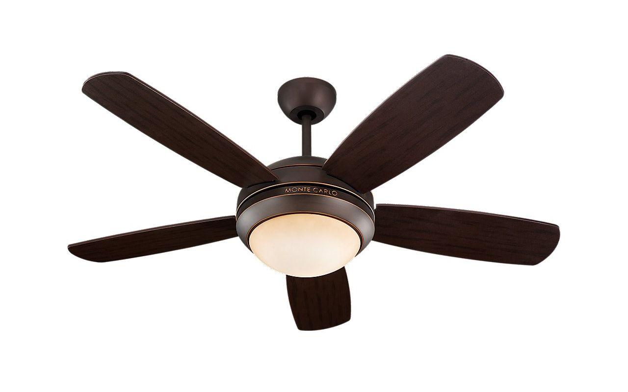 "Monte Carlo Discus II 5 Blade 44"" Indoor Ceiling Fan - Light Kit and"
