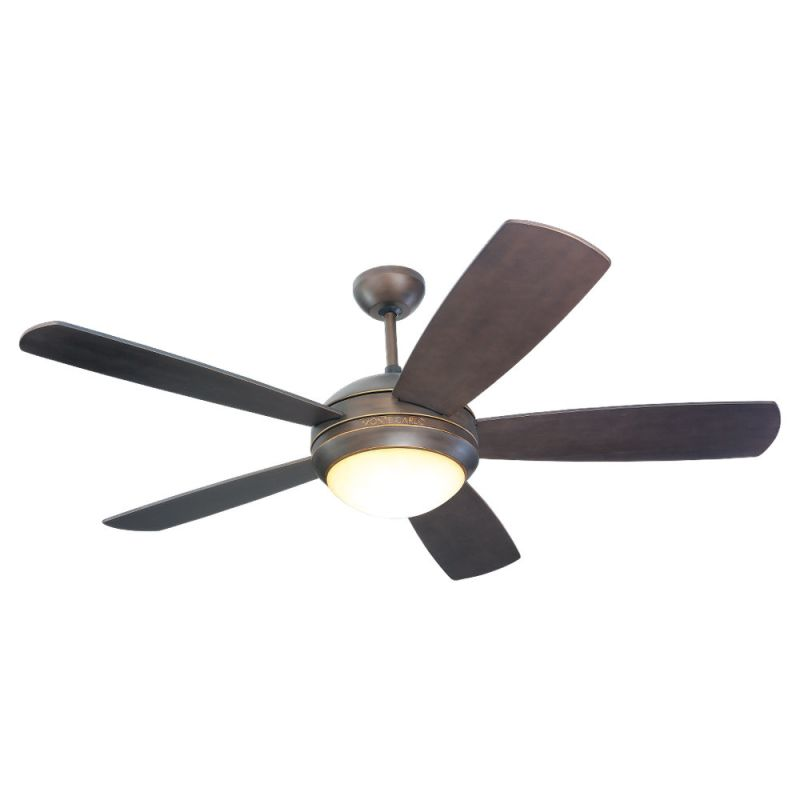 Monte Carlo Discus Five Bladed 52 Inch Ceiling Fan - Blades and Light