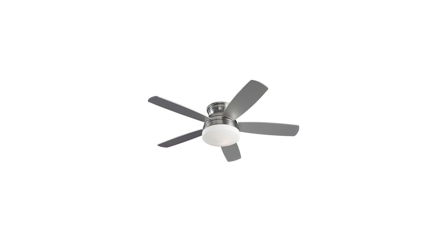 "Monte Carlo Traverse 52"" Semi-Flush Indoor Ceiling Fan Brushed Steel /"