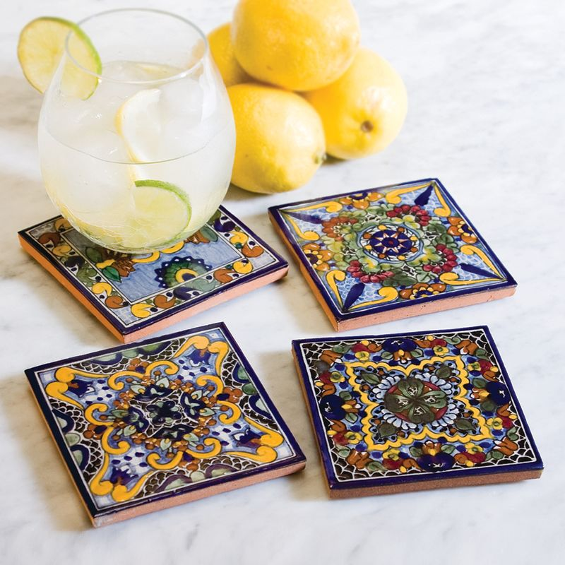 Native Trails TVCB21 Moroccan Midnight Hand Painted Tile Coasters (Set