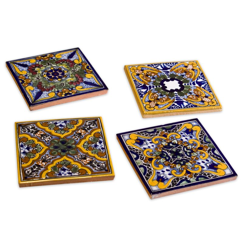 Native Trails TVCM21 Spanish Garden Hand Painted Tile Coasters (Set of