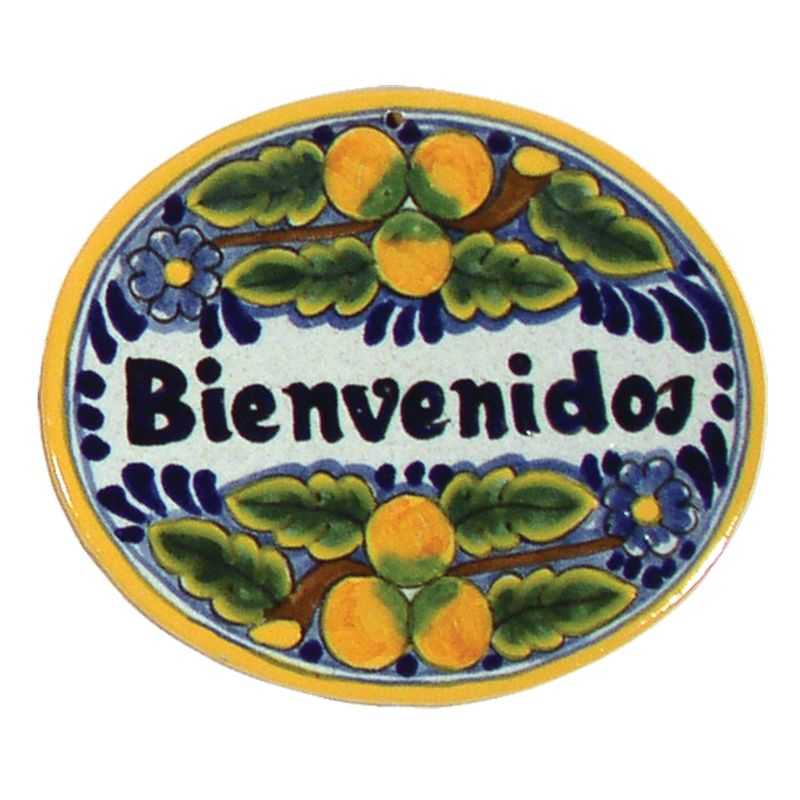 Native Trails TVR6720 Small ´Bienvenidos´ Hand Painted Plaque Peaches
