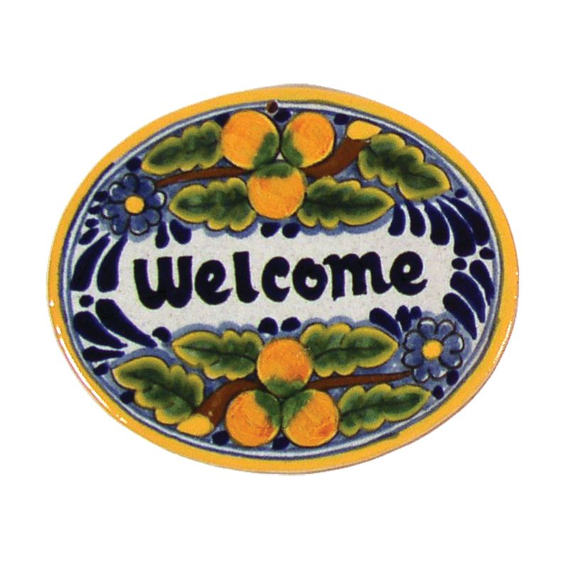 Native Trails TVR7120 Small ´Welcome´ Hand Painted Plaque Peaches Home