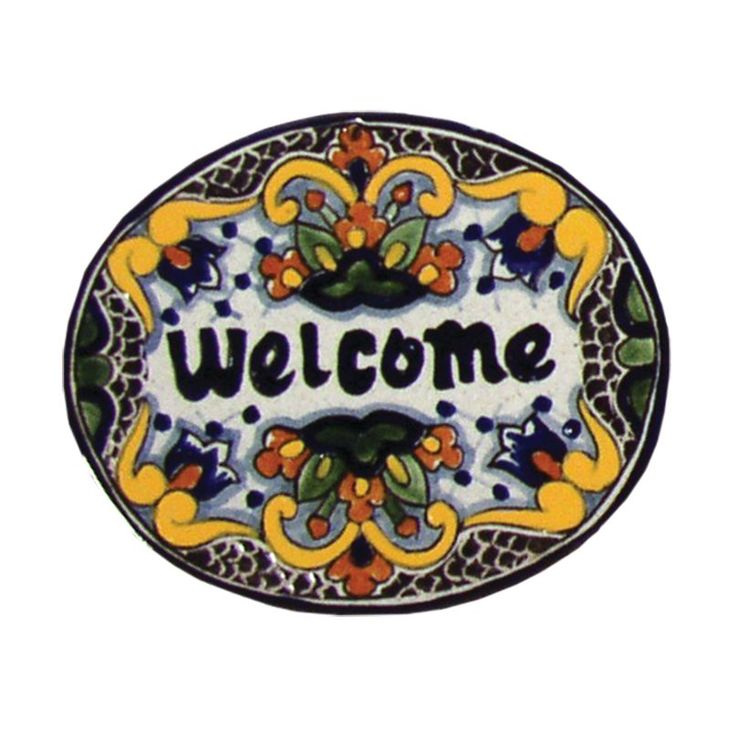 Native Trails TVR7124 Small ´Welcome´ Hand Painted Plaque Zinnia Home