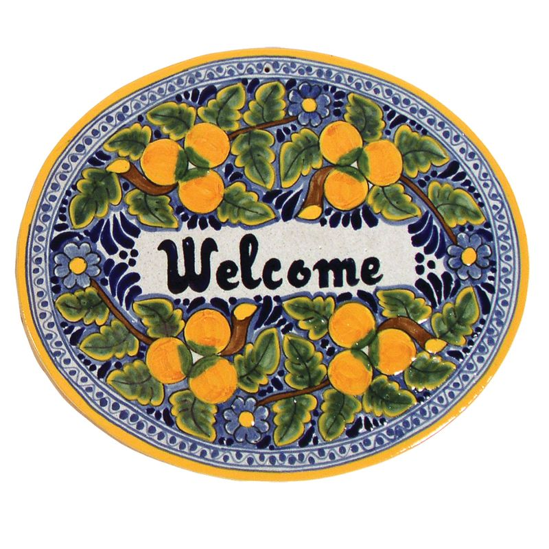 Native Trails TVR8120 Large ´Welcome´ Hand Painted Plaque Peaches Home