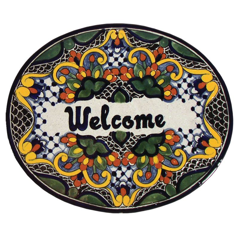 Native Trails TVR8124 Large ´Welcome´ Hand Painted Plaque Zinnia Home
