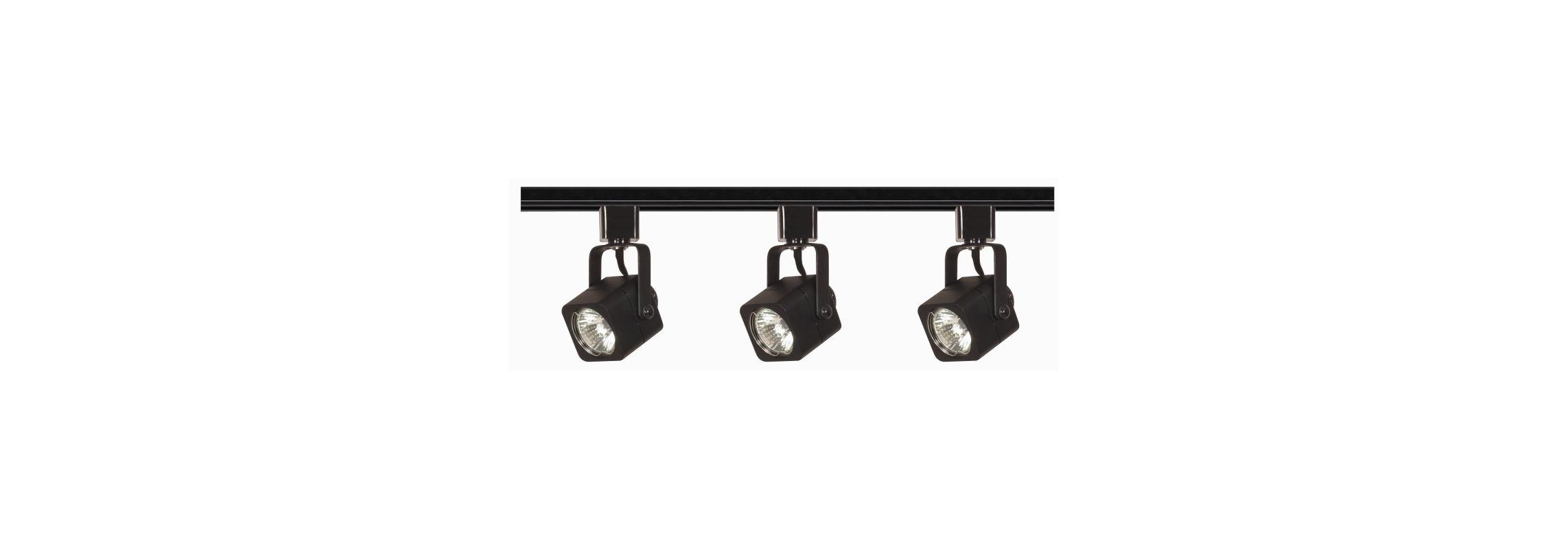 Nuvo Lighting TK346 Black Track Lighting Three Light MR16 Square 120V Track Kit in Black Finish