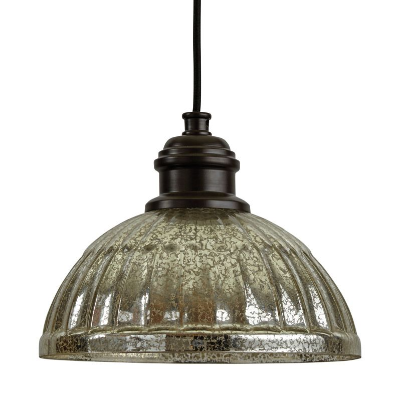 "Park Harbor PHPL5461 10"" Wide Single Light Mini Pendant with Ribbed"