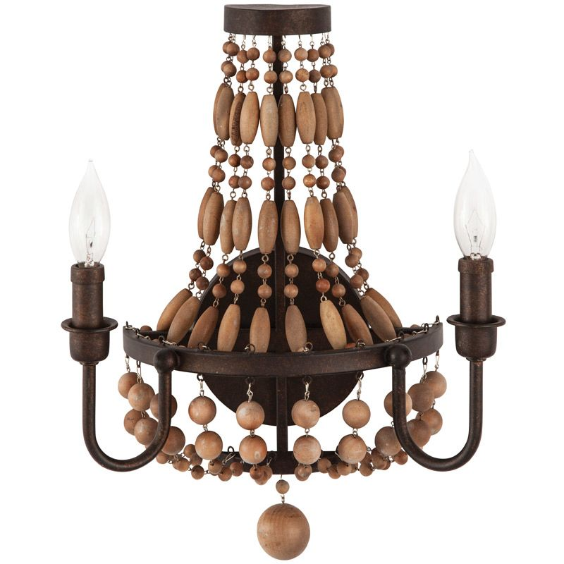"Park Harbor PHWL3152 Casa Maya 13"" Wide 2 Light Wall Sconce with Wood"