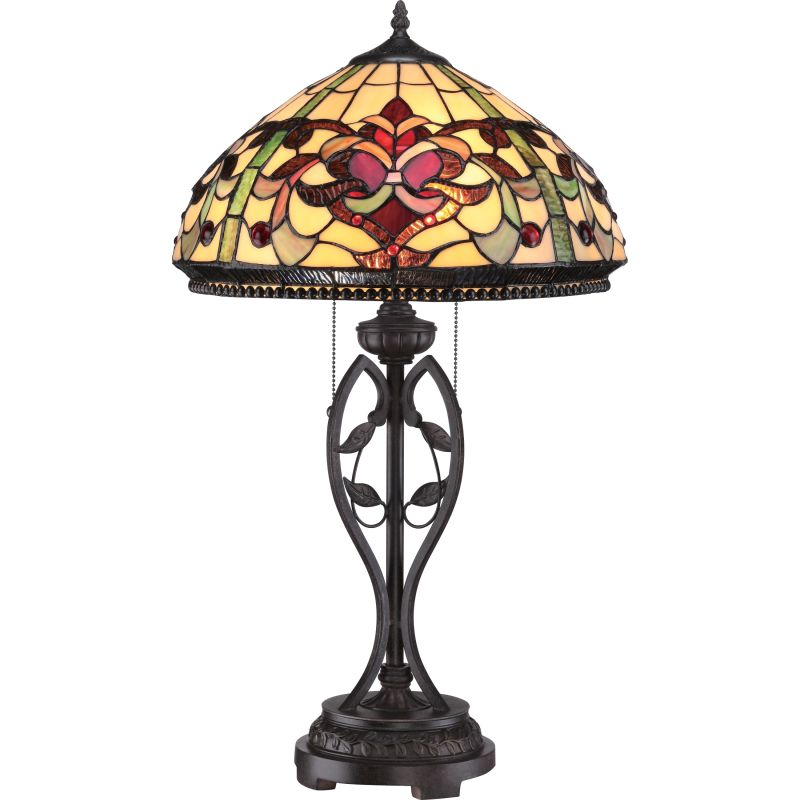 bronze tiffany 2 light 27 tall table lamp with tiffany glass shade. Black Bedroom Furniture Sets. Home Design Ideas